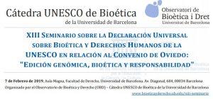 """Gema Revuelta participa al XIII Seminari Internacional sobre la Declaració Universal sobre Bioètica i Drets Humans de la UNESCO: """"Edició genòmica, bioètica i responsabilitat"""""""