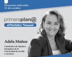 """Aina Crosas assisteix a la xerrada """"El compromís de les científiques amb la societat"""", a càrrec d'Adela Muñoz"""
